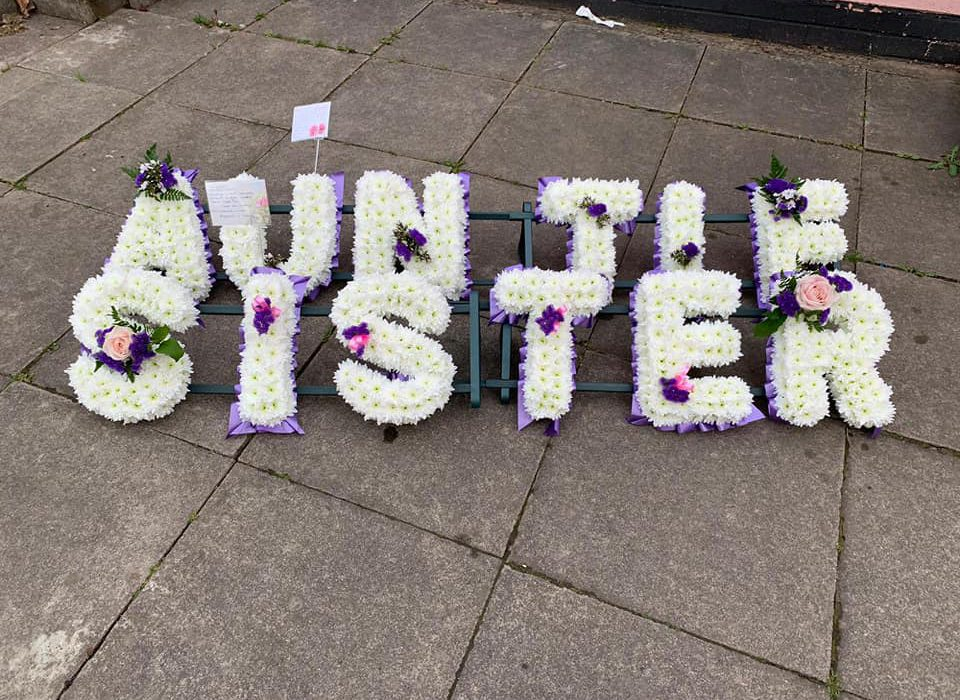 letters funeral flowers